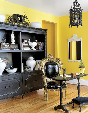 Yellow And Gray Home Office With Mirror Stock Illustration ...