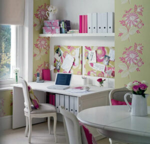 pink flowers home office