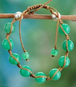 Overstock - Sterling Silver Meditate Jade Bracelet