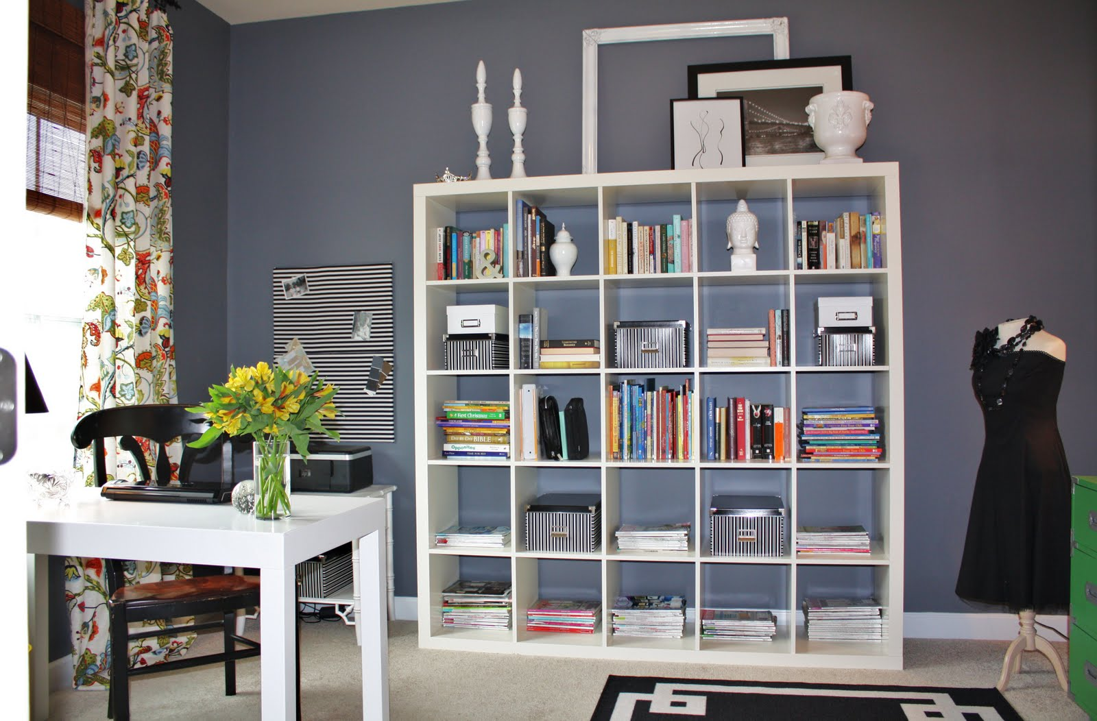 home office design with white office desk and square white bookcase