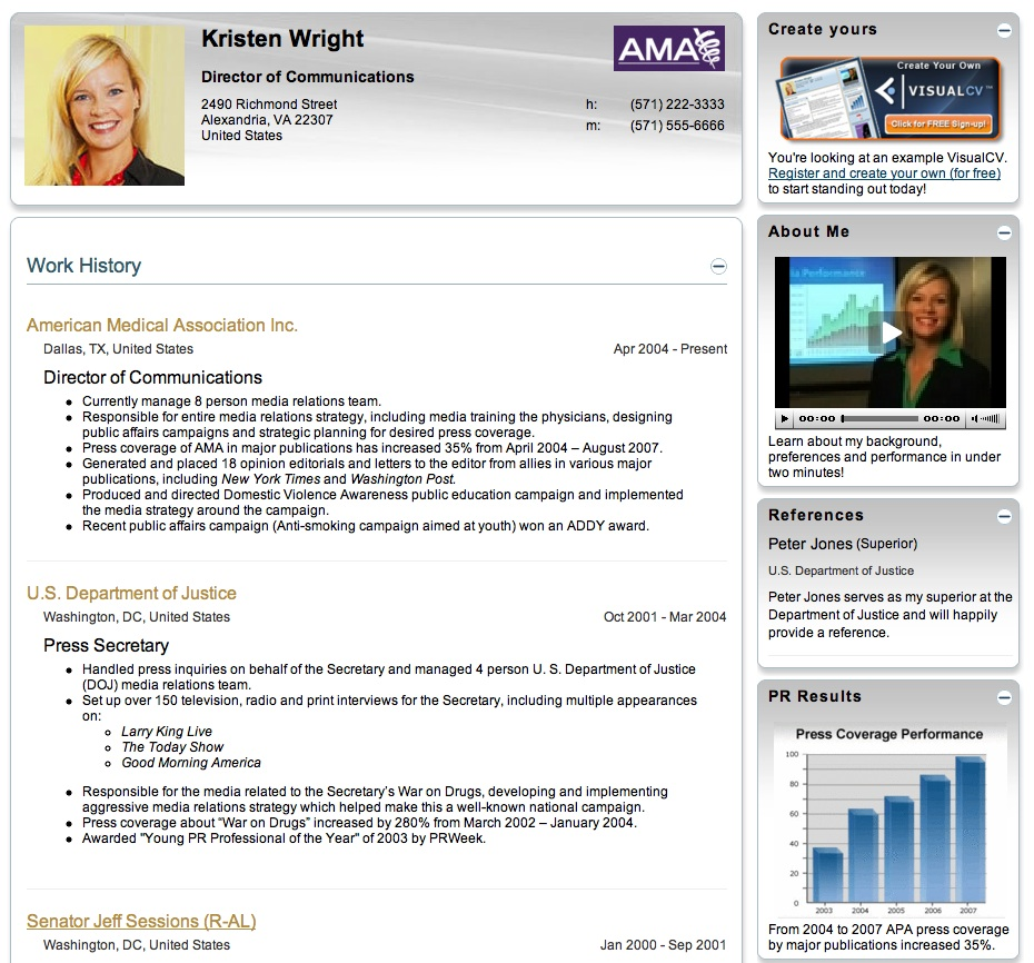 visual resume example three - Visual Resume