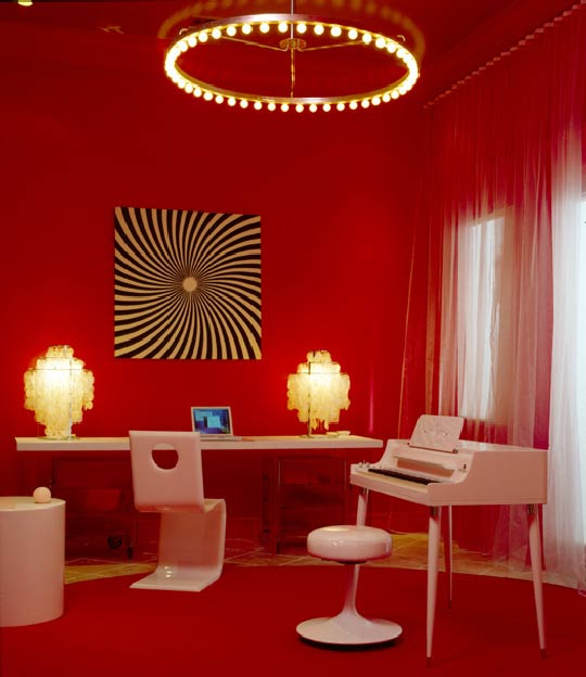 red home office. retro red home office