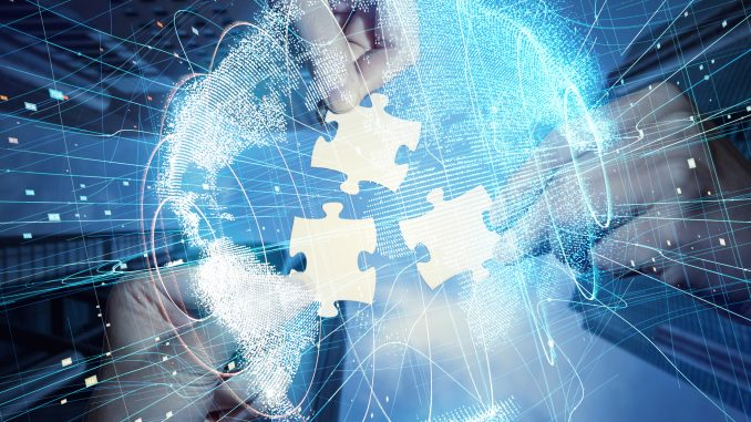 best online collaboration tools three hands holding jigsaw puzzle pieces in the center of a digital globe