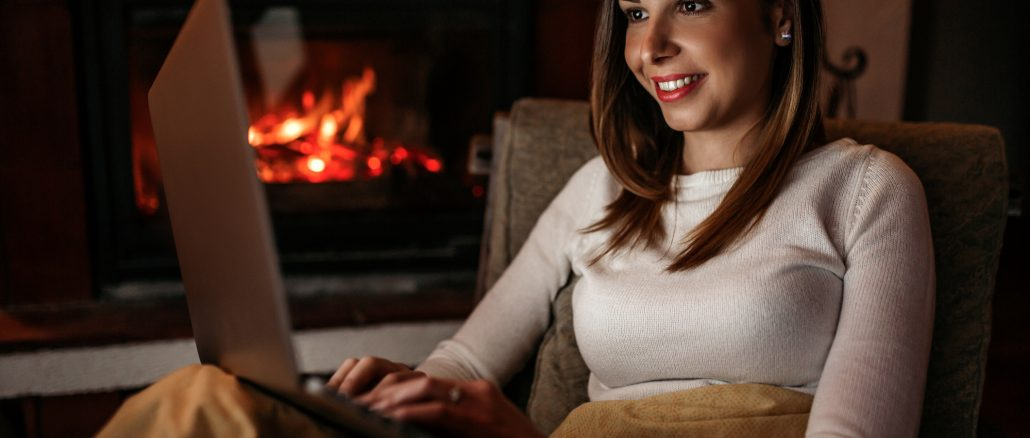 cozy fireplace laptop - remote and virtual job listings - Virtual Vocations telecommute and flexible jobs