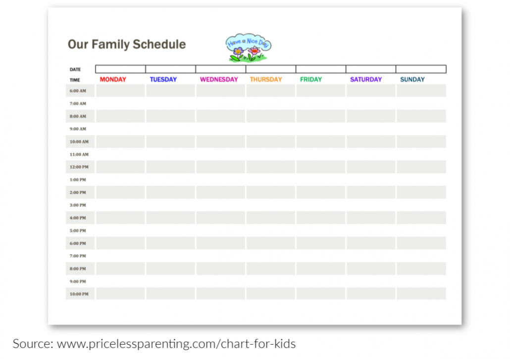 Daily Family Schedule Printable