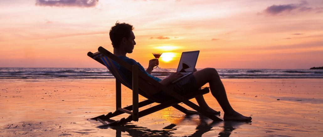 Reaching financial goals enables freelancers to do what they want, when they want, such as working at the beach.