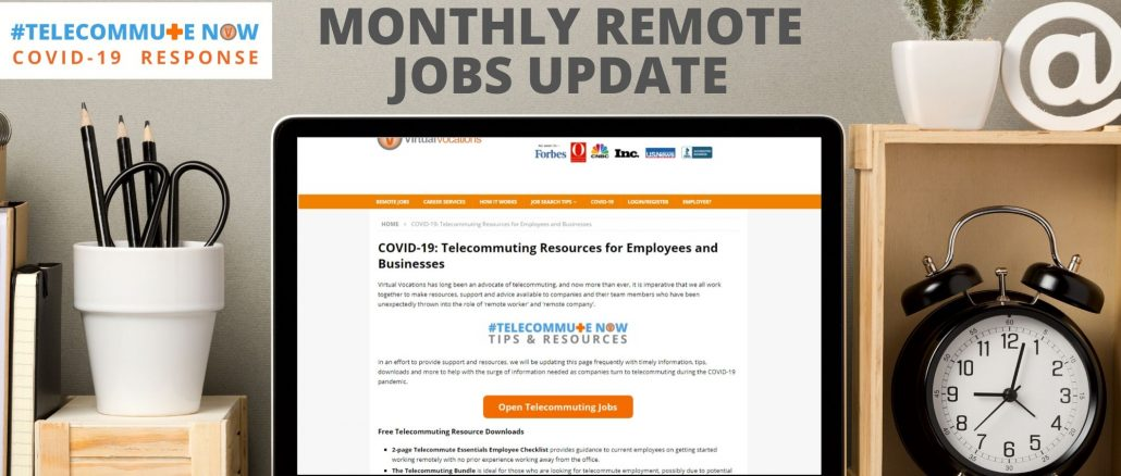May 2020 Monthly Remote Jobs Update and companies still hiring during COVID-19