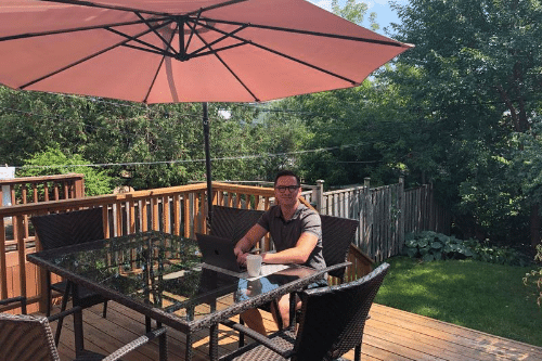 The Irreverent Gent's David Bowden uses his backyard setup to get work done and to minimize distractions throughout the day.