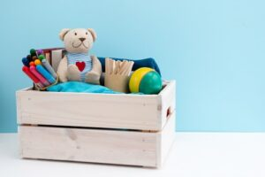 Special toy bins can provide a distraction or sensory heightening for children.
