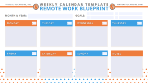 Virtual Vocations Remote Work Schedule Templates - Weekly Calendar