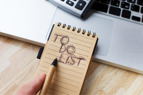 Creating a to-do list is a way for remote workers to stay on track while they work from home.