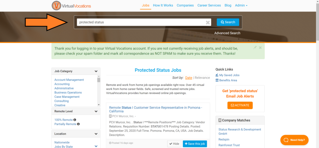 Jobs for veterans with protected status are easy to find with the Virtual Vocations job search bar.