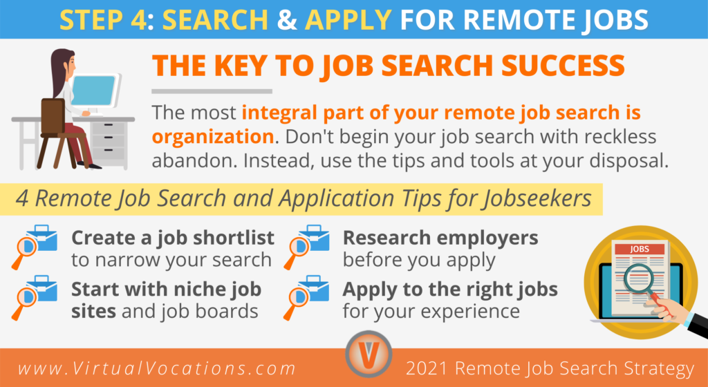 Step 4 in your remote job search strategy is to search and apply for remote jobs.