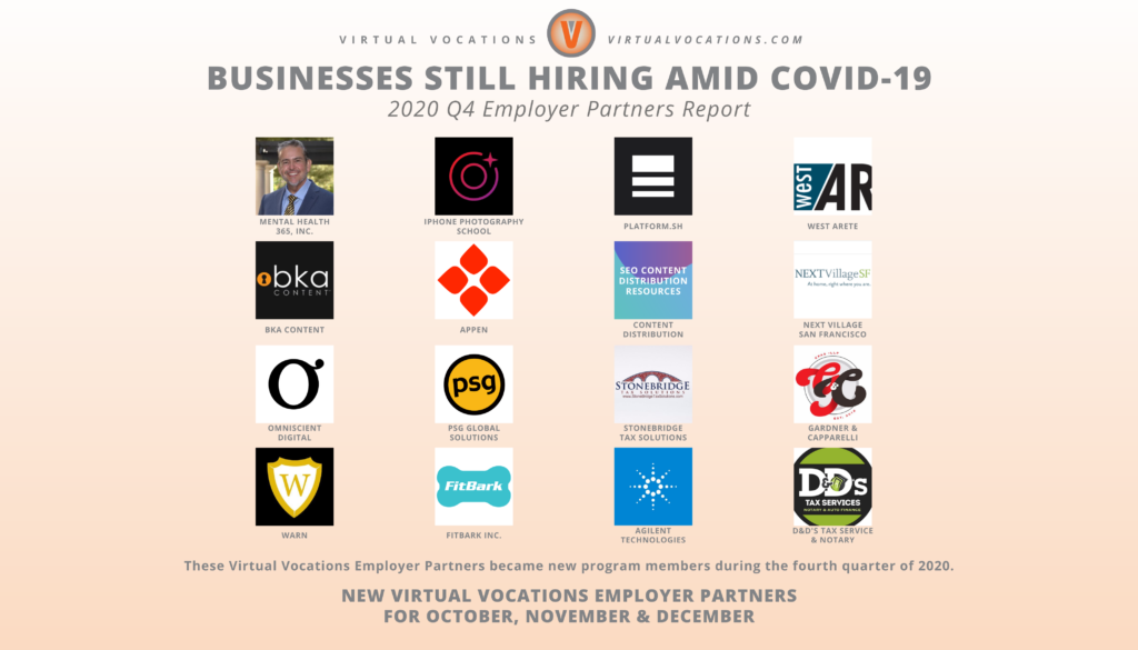 Virtual Vocations - Businesses Still Hiring Amid COVID-19 - Q4 Employer Partners Report - New Employer Partners