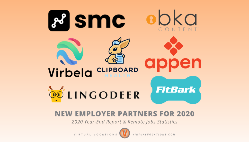 Virtual Vocations - 2020 Year-End Report and Remote Jobs Statistics - Top 10 New Employer Partners for 2020