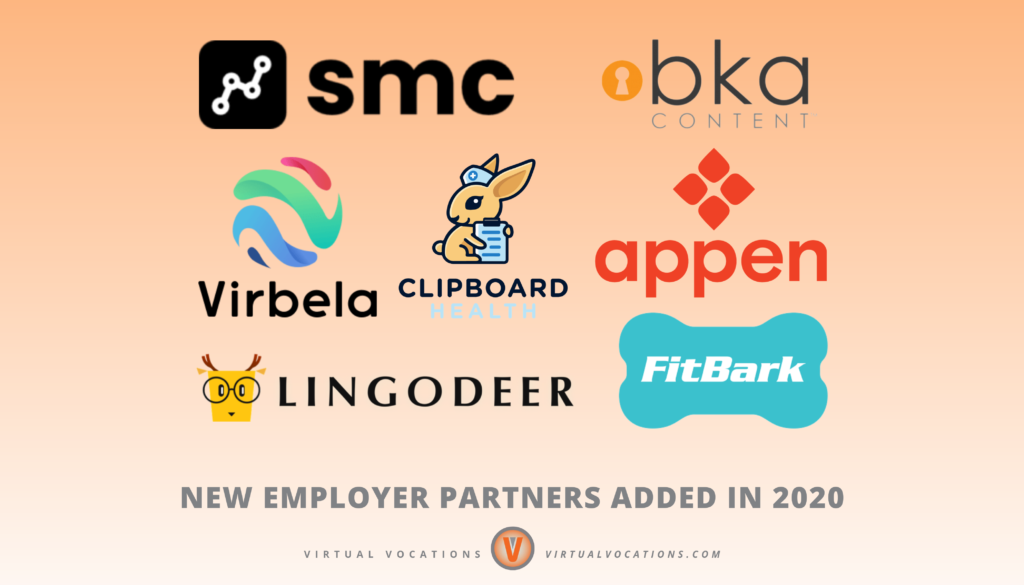 Virtual Vocations - Top 25 Employer Partners for Remote Work in 2021 - New Employer Partners Added in 2020