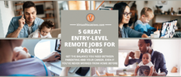 Collage of entry-level remote jobs taken by parents.
